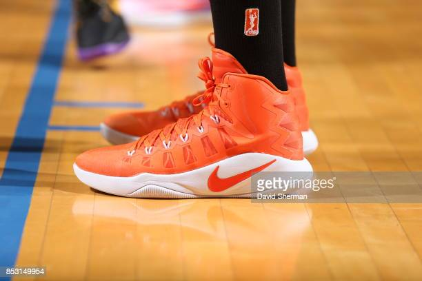 The sneakers of Sylvia Fowles of the Minnesota Lynx are seen during the game against the Los Angeles Sparks in Game One of the 2017 WNBA Finals on...