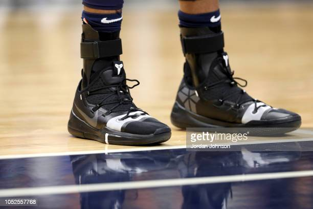 The sneakers of Taj Gibson of the Minnesota Timberwolves during the game against the Cleveland Cavaliers on October 19 2018 at Target Center in...