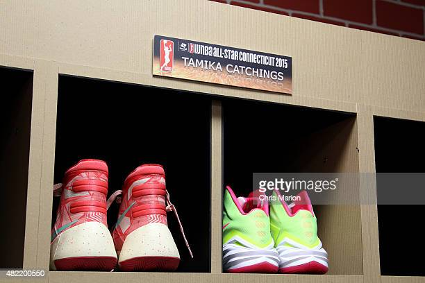 The sneakers of Tamika Catchings of the Eastern Conference All Stars in the locker room prior to the game against the Western Conference All Stars...