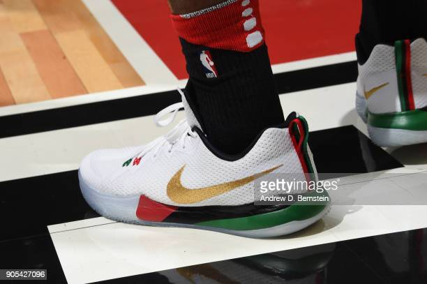 The sneakers of Tarik Black of the Houston Rockets are seen during the game against the LA Clippers on January 15 2018 at STAPLES Center in Los...
