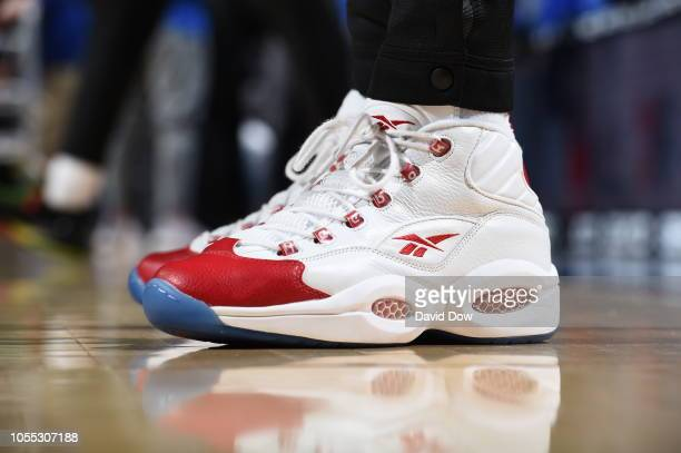 the sneakers of Taurean Prince of the Atlanta Hawks are seen against the Philadelphia 76ers on October 29 2018 in Philadelphia Pennsylvania NOTE TO...