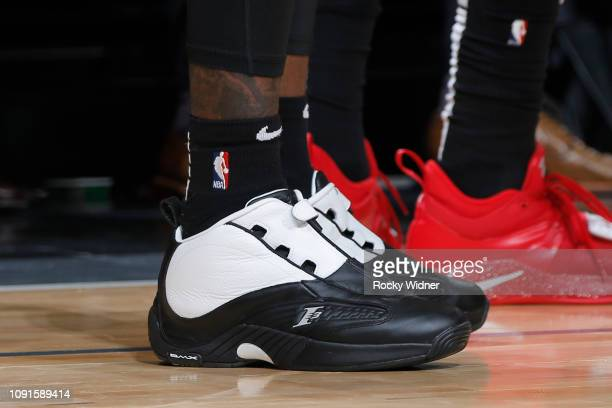 The sneakers of Taurean Prince of the Atlanta Hawks are worn during a game against the Sacramento Kings on January 30 2019 at Golden 1 Center in...