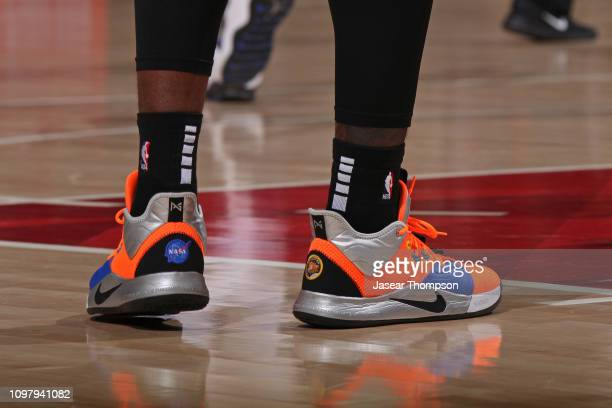 The sneakers of Taurean Prince of the Atlanta Hawks during the game against the Charlotte Hornets on February 9 2019 at State Farm Arena in Atlanta...