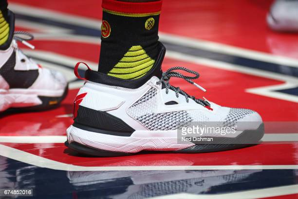 The sneakers of Taurean Prince of the Atlanta Hawks during the game against the Washington Wizards in Game Five of the Eastern Conference...