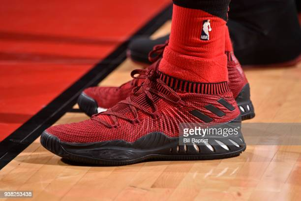 The sneakers of Taurean Prince of the Atlanta Hawks during the game against the Houston Rockets on March 25 2018 at the Toyota Center in Houston...