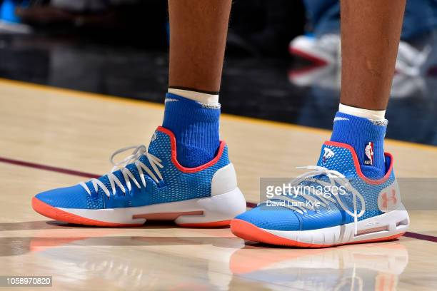 the sneakers of Terrance Ferguson of the Oklahoma City Thunder are seen against the Cleveland Cavaliers on November 7 2018 at Quicken Loans Arena in...