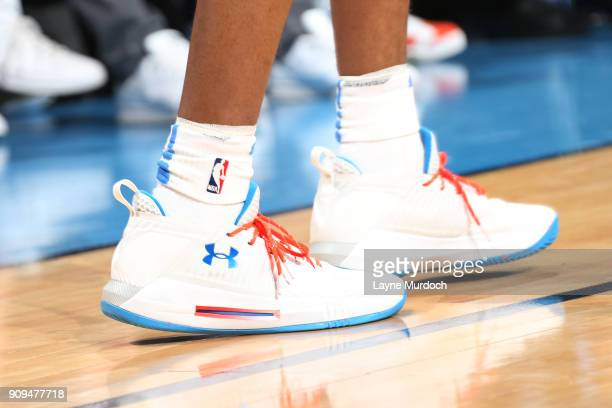 The sneakers of Terrance Ferguson of the Oklahoma City Thunder are seen during the game against the Brooklyn Nets on January 23 2018 at Chesapeake...