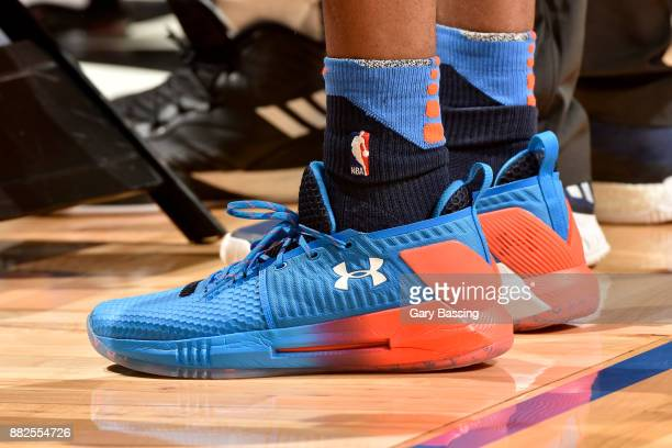 The sneakers of Terrance Ferguson of the Oklahoma City Thunder during the game against the Orlando Magic on November 29 2017 at Amway Center in...