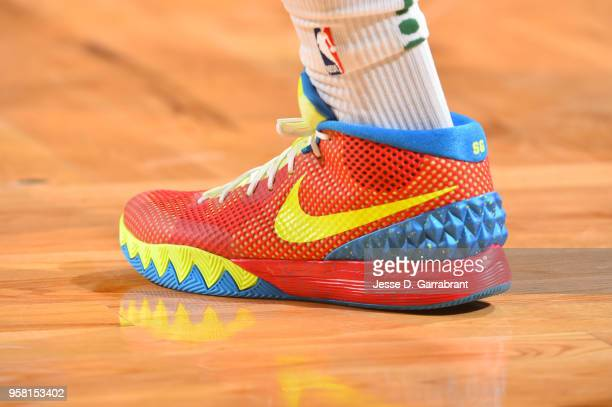 The sneakers of Terry Rozier of the Boston Celtics are seen during the game against the Cleveland Cavaliers during Game One of the Eastern Conference...