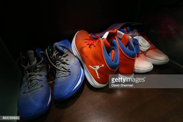 The sneakers of the Minnesota Lynx are seen in the locker room before the game against the Minnesota Lynx in Game One of the 2017 WNBA Finals on...