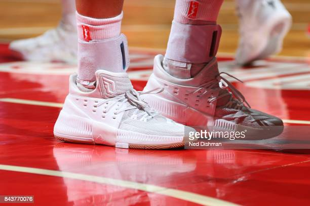 The sneakers of Theresa Plaisance of the Dallas Wings during the game against the Washington Mystics during Round One of the 2017 WNBA Playoffs on...