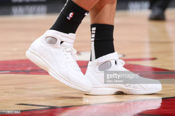 The sneakers of Timothe LuwawuCabarrot of the Chicago Bulls as seen during the game against the Atlanta Hawks on March 3 2019 at the United Center in...