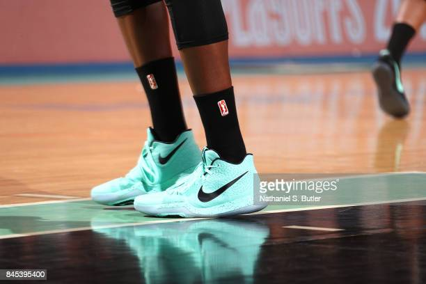 The sneakers of Tina Charles of the New York Liberty are seen during the game against the Washington Mystics in Round Two of the 2017 WNBA Playoffs...