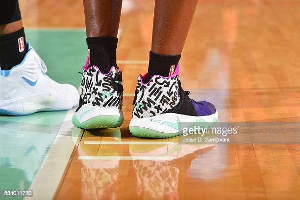 The sneakers of Tina Charles of the New York Liberty during the game against the Atlanta Dream on May 24 2016 at Madison Square Garden in New York...