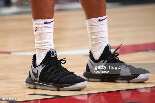 The sneakers of TJ Warren of the Phoenix Suns are seen during the game against the Chicago Bulls on November 28 2017 at the United Center in Chicago...