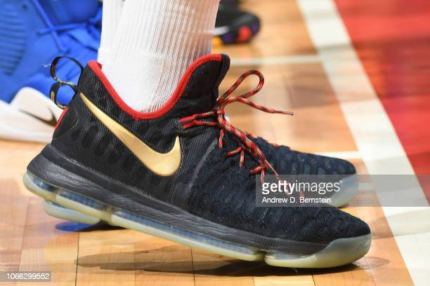The sneakers of TJ Warren of the Phoenix Suns are worn during a game against the LA Clippers on November 28 2018 at STAPLES Center in Los Angeles...