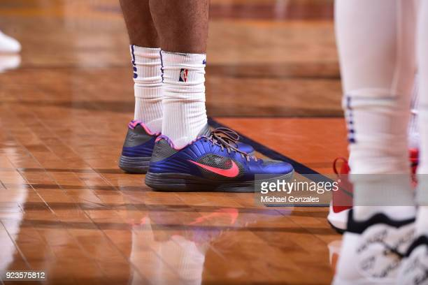 The sneakers of TJ Warren of the Phoenix Suns as seen during the game against the LA Clippers on February 23 2018 at Talking Stick Resort Arena in...