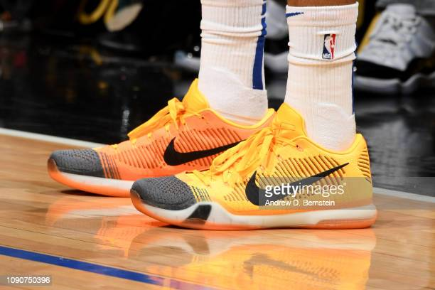 The sneakers of Tobias Harris of the LA Clippers are seen against the Atlanta Hawks on January 28 2019 at STAPLES Center in Los Angeles California...