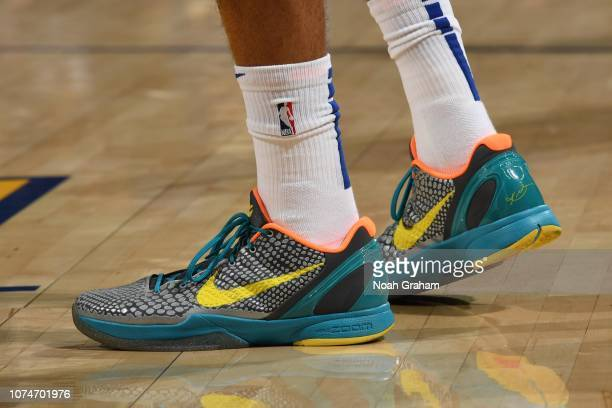 The sneakers of Tobias Harris of the LA Clippers are worn during a game against the Golden State Warriors on December 23 2018 at ORACLE Arena in...