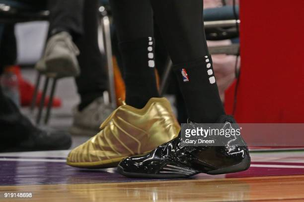 The sneakers of Tracy McGrady during the NBA AllStar Celebrity Game presented by Ruffles as a part of 2018 NBA AllStar Weekend at the Los Angeles...