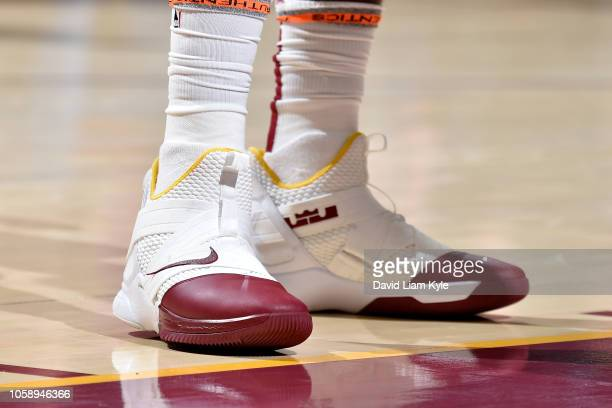 the sneakers of Tristan Thompson of the Cleveland Cavaliers are seen against the Oklahoma City Thunder on November 7 2018 at Quicken Loans Arena in...