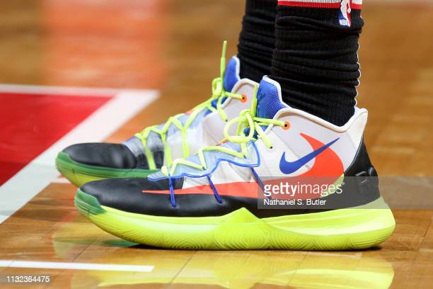 The sneakers of Troy Brown Jr #6 of the Washington Wizards are seen against the Miami Heat on March 23 2019 at Capital One Arena in Washington DC...
