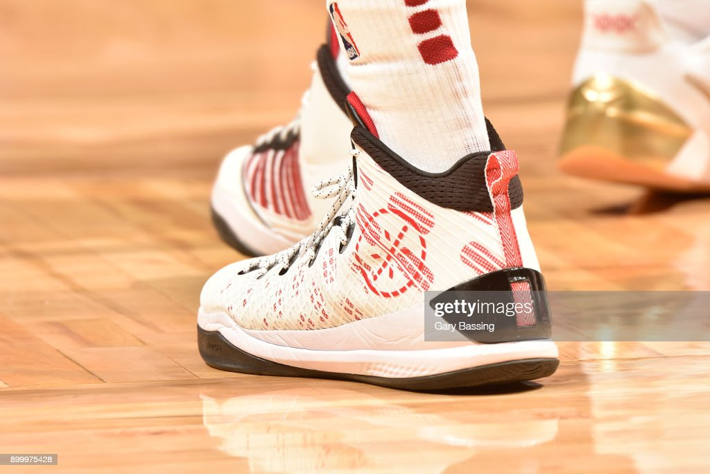 The sneakers of Tyler Johnson #8 of the Miami Heat are seen during the game against the Orlando Magic on December 30, 2017 at the Amway Center in Orlando, Florida.