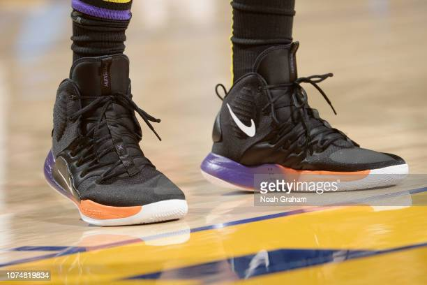 The sneakers of Tyson Chandler of the Los Angeles Lakers are seen against the Golden State Warriors on December 25 2018 at ORACLE Arena in Oakland...