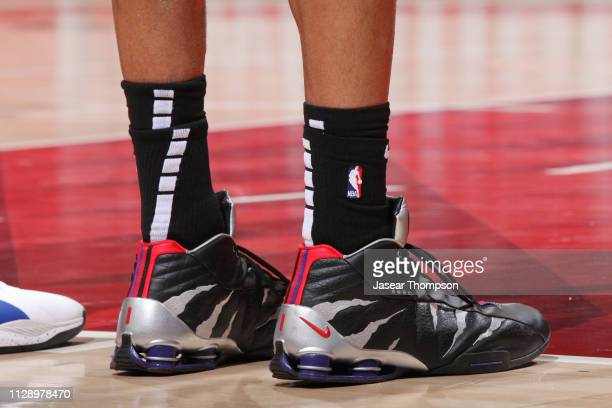 The sneakers of Vince Carter of the Atlanta Hawks are seen against the San Antonio Spurs on March 6 2019 at State Farm Arena in Atlanta Georgia NOTE...
