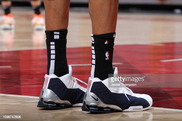 The sneakers of Vince Carter of the Atlanta Hawks during the game against the Charlotte Hornets on February 9 2019 at State Farm Arena in Atlanta...