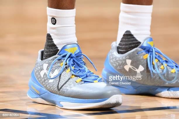 The sneakers of Will Barton of the Denver Nuggets are seen during the game against the Golden State Warriors on February 13 2017 at the Pepsi Center...