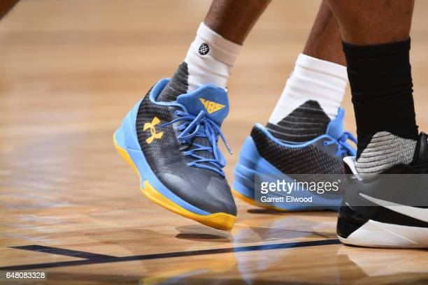 The sneakers of Will Barton of the Denver Nuggets are seen during the game against the Charlotte Hornets on March 4 2017 at the Pepsi Center in...