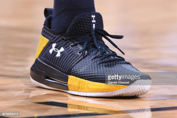 The sneakers of Will Barton of the Denver Nuggets are seen during the game against the New Orleans Pelicans on November 17 2017 at the Pepsi Center...