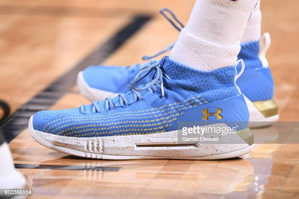 The sneakers of Will Barton of the Denver Nuggets are seen during the game against the New York Knicks on January 25 2018 at the Pepsi Center in...