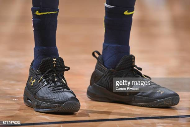 The sneakers of Will Barton of the Denver Nuggets during the game against the Golden State Warriors on November 4 2017 at the Pepsi Center in Denver...