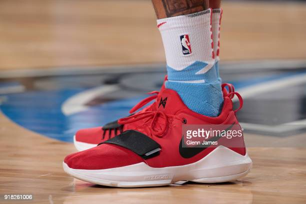 The sneakers of Willie CauleyStein of the Sacramento Kings during the game against the Dallas Mavericks on February 13 2018 at the American Airlines...