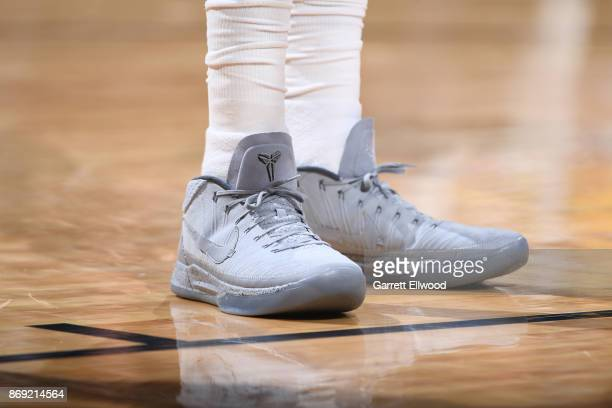 The sneakers of Wilson Chandler of the Denver Nuggets are seen during the game against the Toronto Raptors on November 1 2017 at the Pepsi Center in...