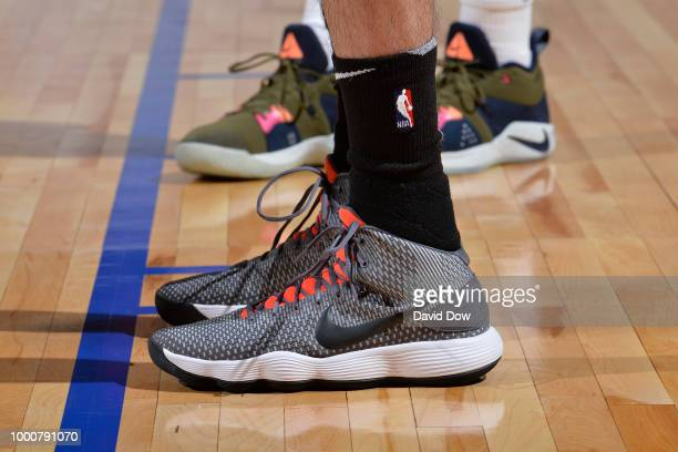 The sneakers of Yuta Watanabe of the Brooklyn Nets are seen during the game against the Oklahoma City Thunder during the 2018 Las Vegas Summer League...