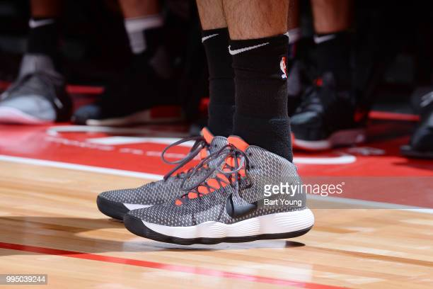 The sneakers of Yuta Watanabe of the Brooklyn Nets as seen during the game against the Minnesota Timberwolves during the 2018 Las Vegas Summer League...