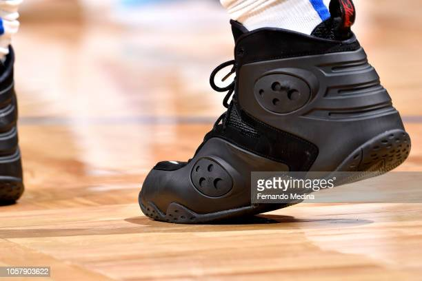 The sneakers worn by Aaron Gordon of the Orlando Magic against the Cleveland Cavaliers on November 5 2018 at Amway Center in Orlando Florida NOTE TO...
