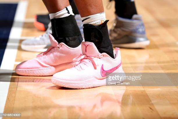 The sneakers worn by Alaina Coates of the Chicago Sky during the game against the Minnesota Lynx on August 14 2018 at Target Center in Minneapolis...