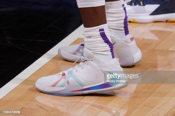 The sneakers worn by Alex Antetokounmpo of the Sacramento Kings during the 2021 California Classic Summer League on August 4, 2021 at Golden 1 Center...