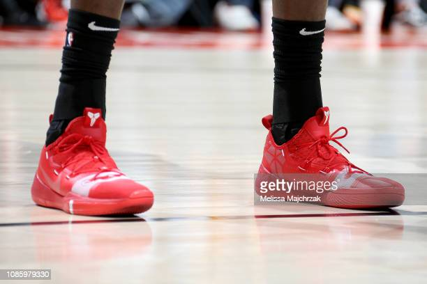 The sneakers worn by AlFarouq Aminu of the Portland Trail Blazers during the game against the Utah Jazz on January 21 2019 at vivintSmartHome Arena...
