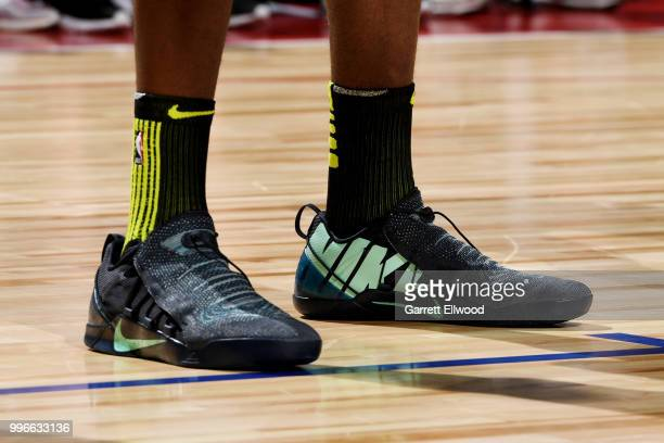 the sneakers worn by Alpha Kaba of the Atlanta Hawks are seen against the Indiana Pacers during the 2018 Las Vegas Summer League on July 11 2018 at...