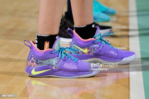 the sneakers worn by Amanda Zahui B #17 of the New York Liberty are seen during the game against the Minnesota Lynx on May 25 2018 at Westchester...