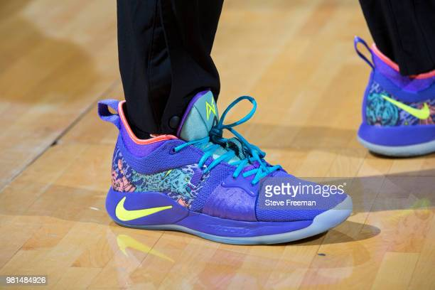 the sneakers worn by Amanda Zahui B #17 of the New York Liberty are seen prior to the game against the Atlanta Dream on June 19 2018 at Westchester...