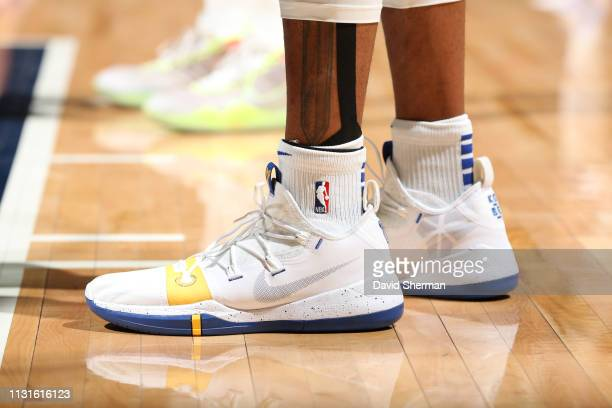 The sneakers worn by Andre Iguodala of the Golden State Warriors against the Minnesota Timberwolves on March 19 2019 at Target Center in Minneapolis...