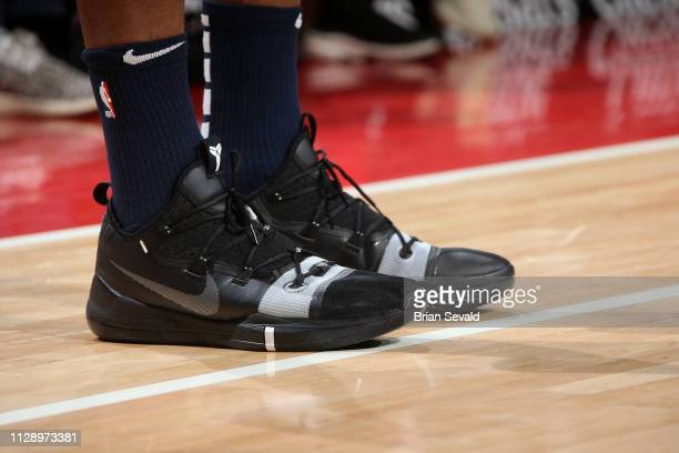 The sneakers worn by Andrew Wiggins of the Minnesota Timberwolves against the Detroit Pistons on March 6 2019 at Little Caesars Arena in Detroit...