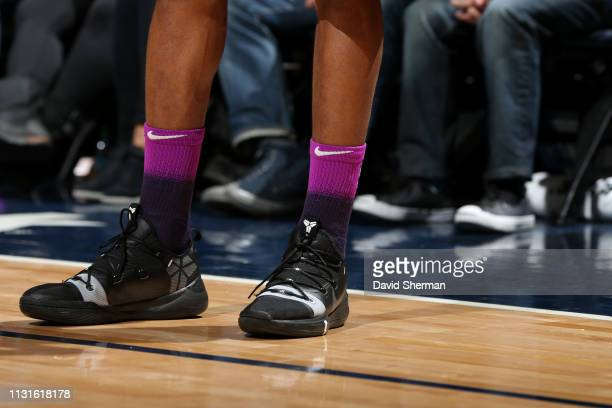 The sneakers worn by Andrew Wiggins of the Minnesota Timberwolves against the Golden State Warriors on March 19 2019 at Target Center in Minneapolis...