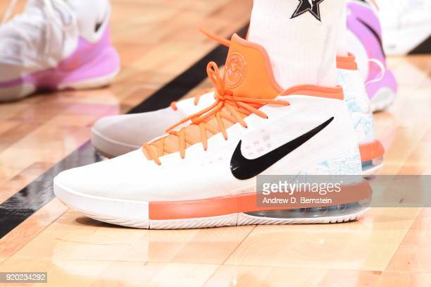 the sneakers worn by Anthony Davis Of Team LeBron are seen during the NBA AllStar Game as a part of 2018 NBA AllStar Weekend at STAPLES Center on...